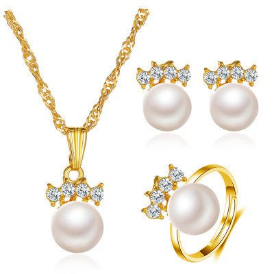 New fashion with four diamonds and pearl earrings ring necklace three-piece set NHMO241129's discount tags
