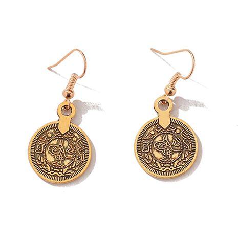 boucles d'oreilles pompon pièce rétro style ethnique bohème boucles d'oreilles en alliage rétro en gros nihaojewelry NHMO241135's discount tags