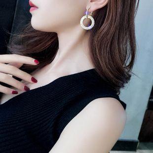 Long tassel inlaid diamond 925 silver needle Korean fashion floral pearl asymmetric alloy earrings  NHBQ241099's discount tags