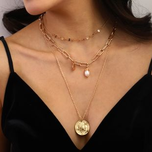Fashion women's 18k gold natural freshwater pearl golden alloy retro coin pendant multi-layer necklace wholesale NHAN241143's discount tags