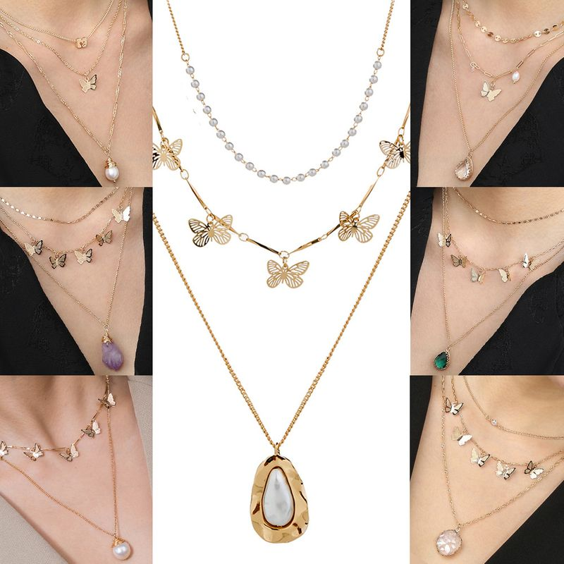 New fashion butterfly metal three-dimensional multi-layer wild trend copper alloy necklace NHAN241144
