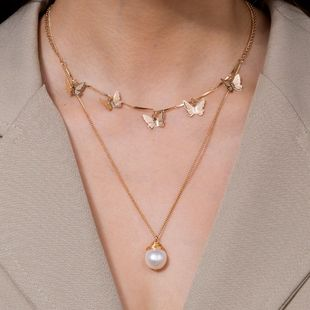 Fashion natural freshwater pearl golden butterfly alloy necklace clavicle chain NHAN241145's discount tags