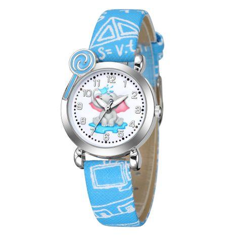 Reloj de cuarzo con patrón de elefante lindo, caja de plata, correa de cinturón impresa con cara digital, reloj para niños NHSS241149's discount tags