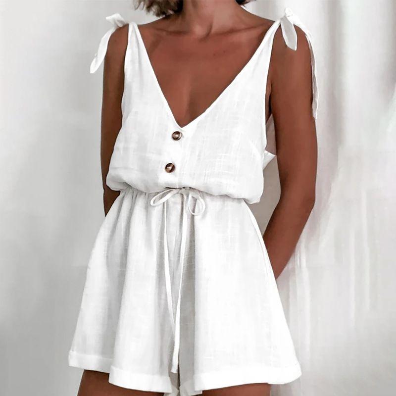 summer fashion  cotton linen high waist lace-up casual wide-tube wide-leg halter suspender jumpsuit  NHAG241161