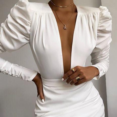 Falda de traje irregular de cintura de mujer sexy vestido de manga larga con cuello en V profundo al por mayor NHAG241167's discount tags