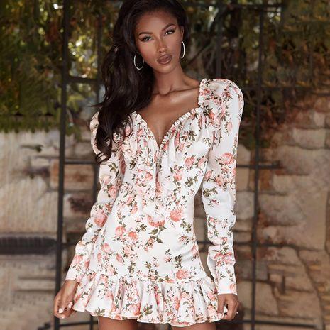 Vestido de una pieza con dobladillo con volantes de verano para damas nuevas Vestido de falda corta floral de manga larga con cuello en v para mujer NHAG241171's discount tags