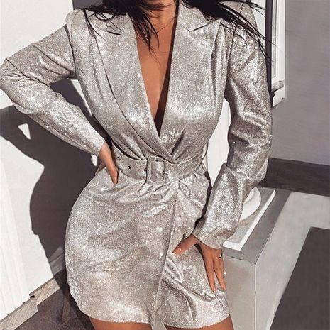 Moda nuevo bronceado metálico sexy cuello semiabierto cinturón de cintura baja vestido delgado de cintura alta NHAG241177's discount tags