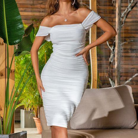 Vestido de gasa neta plisada y espalda abierta de moda y vestido de mujer de cuello de una pieza NHAG241183's discount tags