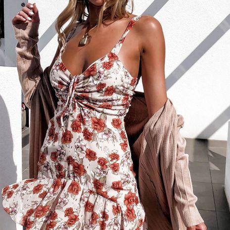 Falda de gasa floral con cuello halter sexy para mujer de verano Vestido de honda con manga de volantes de cintura alta NHAG241190's discount tags