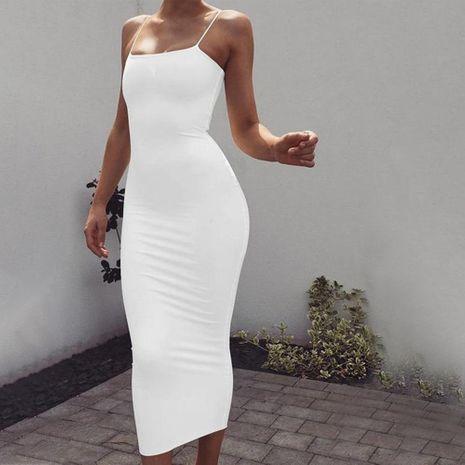 Venta caliente de moda de seda de seda color puro tirante halter vestido delgado falda larga ropa de mujer NHAG241192's discount tags