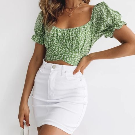 Venta caliente de moda correa halter top de cuello cuadrado corto Camisa floral delgada Camiseta de manga plisada plisada NHAG241205's discount tags