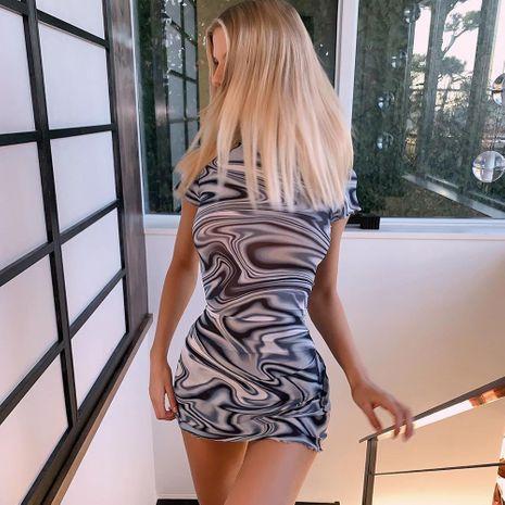 Falda de cadera ajustada de manga corta de moda sexy cuello alto falda corta diseño remolino vestido estampado psicodélico NHAG241209's discount tags