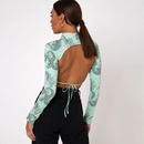 Fashion new hipster print womens sexy backless laceup highneck fourway stretch longsleeved Tshirt NHAG241214