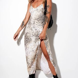 Fashion summer new women's backless lace-up print long skirt split sexy snake print suspender dress NHAG241220's discount tags