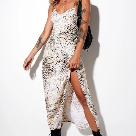 Falda larga con estampado de cordones sin espalda de las nuevas mujeres de verano de moda vestido de tirantes con estampado de serpiente sexy dividido NHAG241220's discount tags
