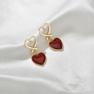 simple hollow red love earrings new design oil drop earrings wholesale nihaojewelry NHBQ241226's discount tags