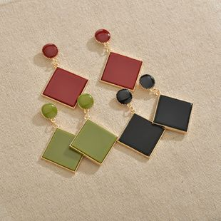 Rhombus simple geometric square acrylic plate earrings disc exaggerated earrings wholesale nihaojewelry NHBQ241228's discount tags