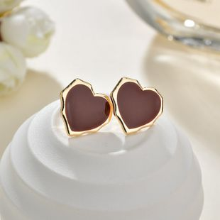 S925 Silver Needle fashion Korean Simple Wine Red Oil Drop Sweet Love  Retro Earrings NHBQ241231's discount tags