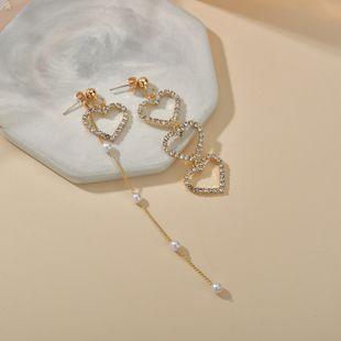 asymmetric love long  silver needle peach heart  pearl tassel earrings wholesale nihaojewelry NHBQ241232's discount tags
