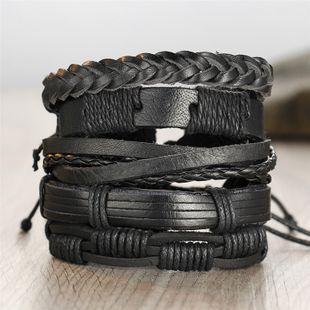 Fashion new 5-layer black men's leather retro punk style bracelet wholesale NHYI241235's discount tags