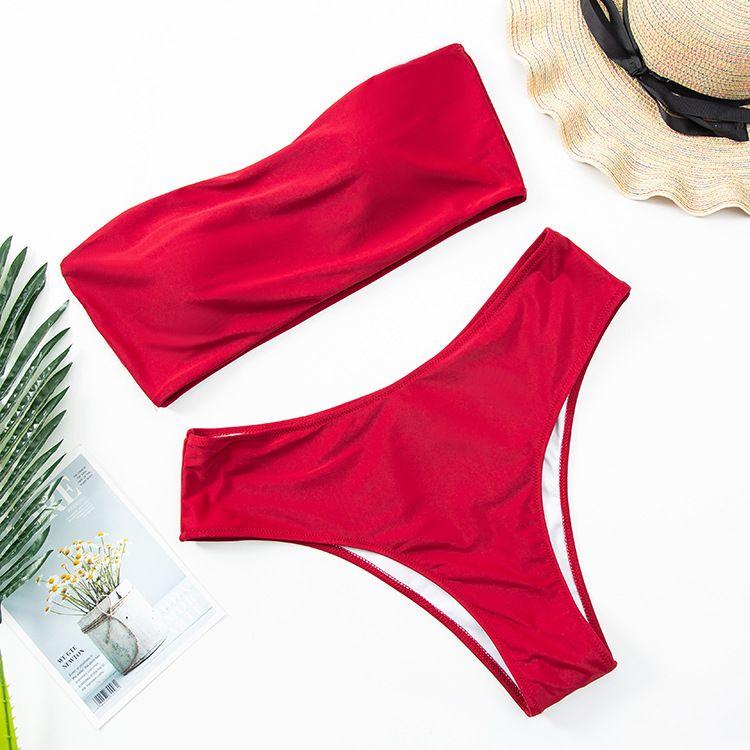 vente chaude plaine impression tube top maillot de bain grande taille maillot de bain femme split bikini en gros NHHL241263