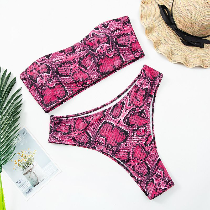 Fashion new sexy snake print tube top large size swimsuit womens swimwear split bikini  NHHL241303