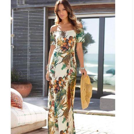 Vestido de un hombro con hombros descubiertos y estampado de moda para mujer nuevo estilo NHYF241356's discount tags