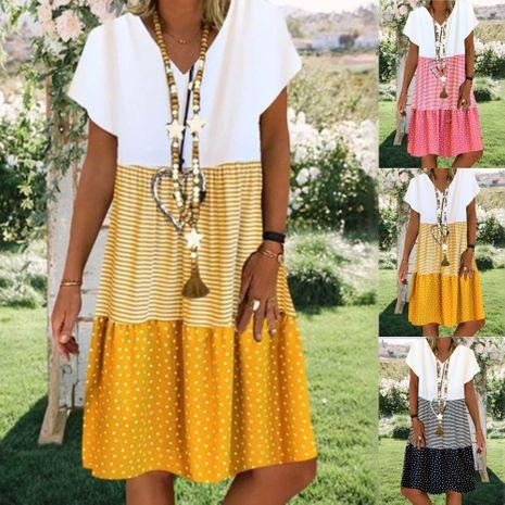 Nueva moda de verano de impresión digital con cuello en V vestido de manga corta al por mayor NHYF241357's discount tags