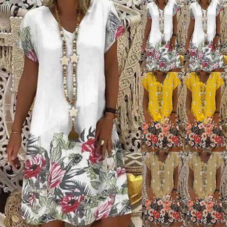 Nuevo vestido de manga corta con cuello en V y estampado de verano para mujeres NHYF241358's discount tags