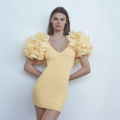 Moda nuevo verano cosido v-cuello de punto mini vestido ajustado al por mayor NHAM241370's discount tags