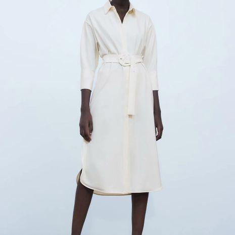 Vestido de camisa de manga larga de verano nuevo de moda con venta caliente de cinturón al por mayor NHAM241371's discount tags
