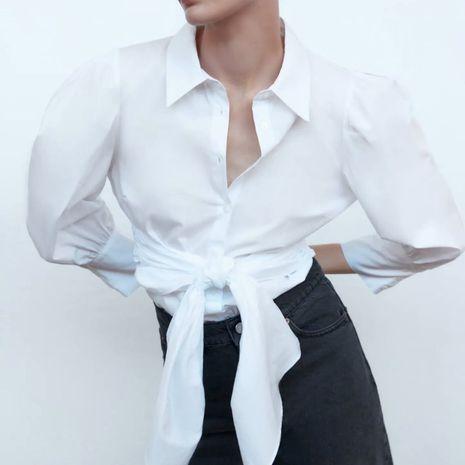 Moda nueva simple simple blusa de popelina suelta para mujer al por mayor NHAM241372's discount tags