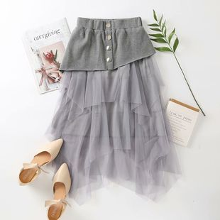 Fashion new net yarn tutu thin black mid-length knitted skirt wholesale NHAM241378's discount tags