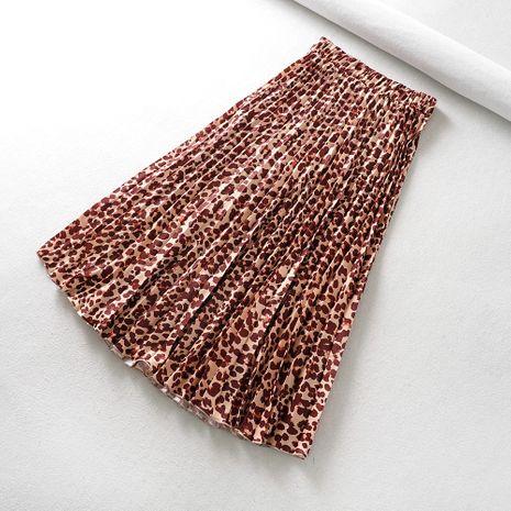 Falda plisada de estampado de leopardo de verano nueva moda para mujer venta caliente al por mayor NHAM241383's discount tags