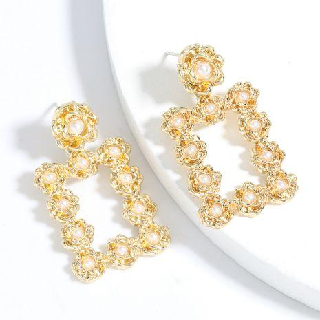 Corée alliage multicouche incrusté de perles boucles d'oreilles carrées en gros nihaojewelry NHJE241389's discount tags