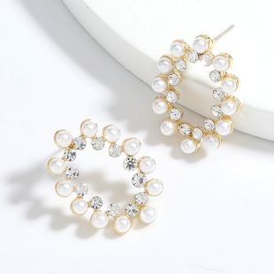 Simple oval alloy diamond inlaid pearls girl earrings wholesale nihaojewelry NHJE241390's discount tags