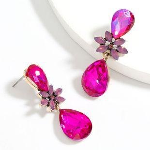 Fashion  diamond  multi-layer alloy diamond drop-shaped glass flower geometric earrings wholesale  NHJE241391's discount tags