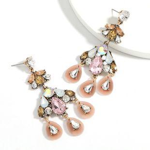 Fashion color diamond series alloy diamond multi-layer drop-shaped resin rhinestone tassel earrings wholesale nihaojewelry NHJE241392's discount tags