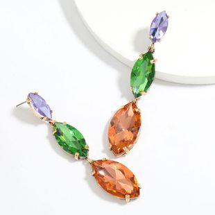 Fashion color diamond series alloy diamond multi-layer willow-shaped glass diamond earrings wholesale nihaojewelry NHJE241393's discount tags
