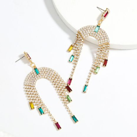 Fashion Color Diamond Series Arched Alloy Diamond Tassel Earrings wholesale nihaojewelry NHJE241395's discount tags
