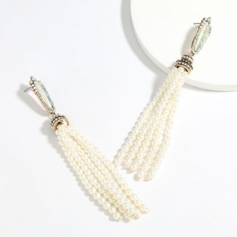 exaggerated alloy resin diamond pearl long tassel retro earrings wholesale nihaojewelry NHJE241396's discount tags
