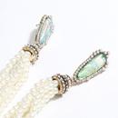 exaggerated alloy resin diamond pearl long tassel retro earrings wholesale nihaojewelry NHJE241396