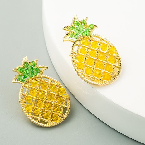 retro pineapple S925 silver needle sweet handmade crystal earrings wholesale nihaojewelry NHLN241402's discount tags