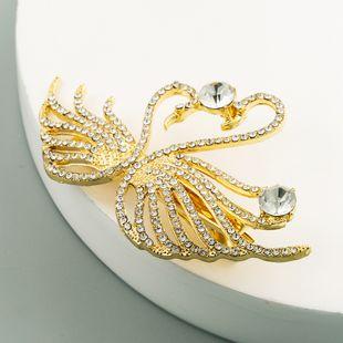 fashion Korean rhinestone duckbill clip alloy inlaid swan hairpin wholesale nihaojewelry NHLN241403's discount tags