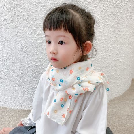 Children's scarf spring and autumn Korean new cotton and linen flower print baby windproof scarf wholesale NHCJ241457's discount tags