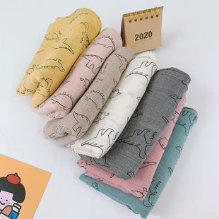 baby cute cartoon little dinosaur printing cotton and linen children's scarf wholesale NHCJ241464's discount tags