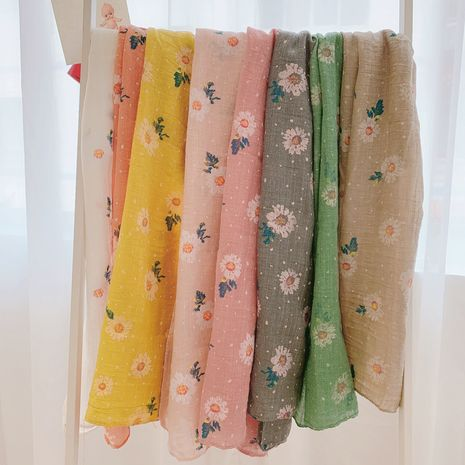 Korean new children's cotton  linen scarf bamboo cotton small daisy print  silk scarf wholesale NHTZ241498's discount tags