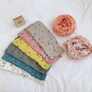 Children's scarf spring and autumn Korean new cotton and linen flower print baby windproof scarf wholesale NHTZ241501's discount tags