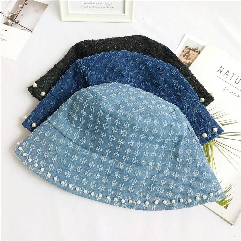 Korean fashion tide summer wild sanding bucket face cover sunscreen pearl cowboy fisherman hat NHCM241521