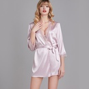 Fashion new  summer nightgown ladies silk sexy lace bathrobe dressing gown pajamas for women NHJO241543